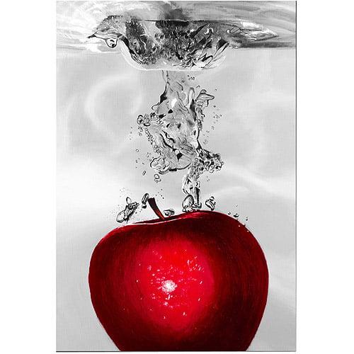 "Trademark Art ""Red Apple Splash"" Canvas Art, 22x32"