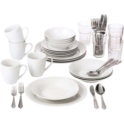 10 Strawberry Street 40-Piece Round Dinnerware Set with Glass Tumblers, White