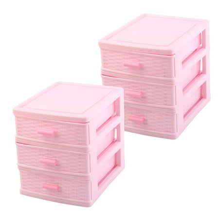 Home Travel Plastic 3 Layers Sundries Clips Storage Cabinet Case Box Pink 2pcs](Pink Storage Boxes)
