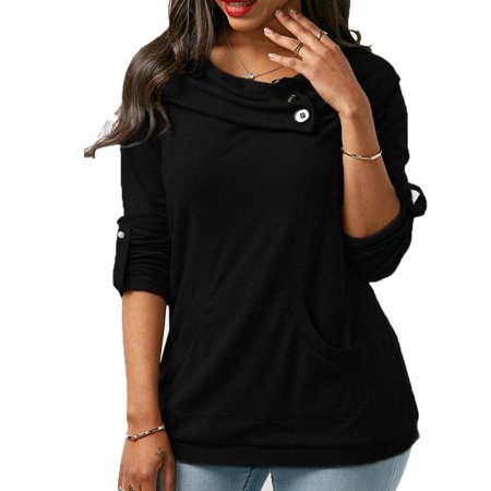 Womens Long Sleeve Sweatershirt Casual Soild Color Round Collar Loose Blouse Cute Plus Size Front Pocket Tunic Top