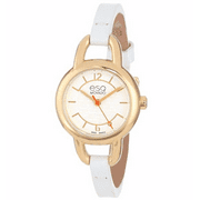 Movado Status Leather Ladies Watch - Gold Tone