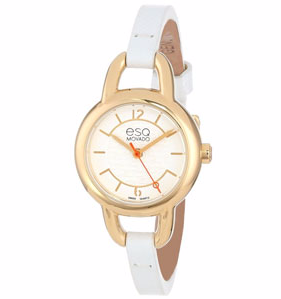 ESQ by Movado Status Leather Ladies Watch - Gold Tone