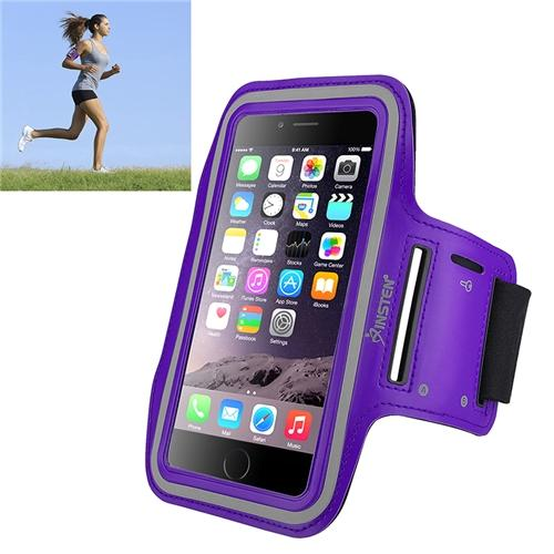 Insten Purple Sports Gym Running Cycling Workout Armband Phone Holder For iPhone 6 Plus 6S Plus / Samsung Galaxy Note 5 4 3 S7 Edge (with key Storage Slot)