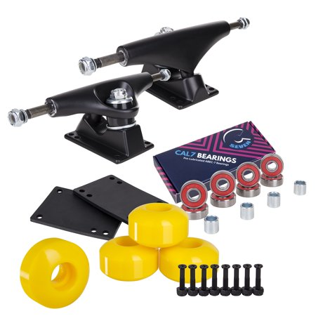 Skateboard Truck Parts - Cal 7 Skateboard Package Combo with 5 Inch Trucks, 52mm 99A Wheels, Complete Set of Bearings and Steel Hardware (Black Trucks, Yellow Wheels)