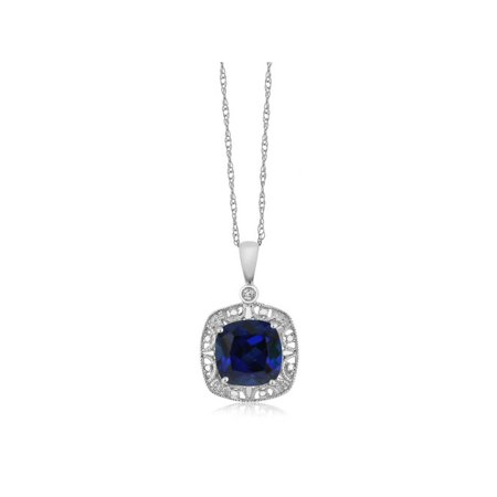 Blue Sapphire Diamond Necklace - 10K White Gold Women's Cushion Blue Simulated Sapphire and Diamond Accent Necklace 2.5 cttw