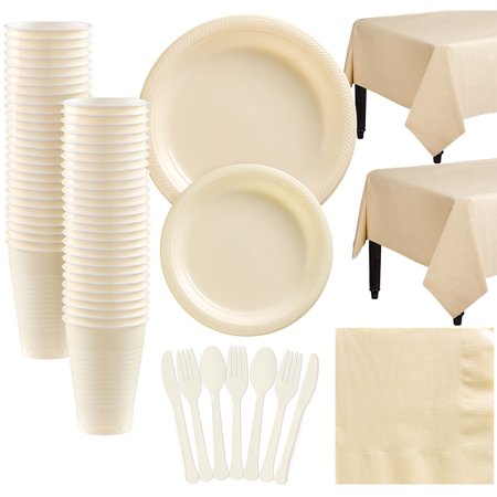 Amscan Plastic Tableware Kit for 50 Guests, Party Supplies Set, Includes Plates, Cups, Table Covers and