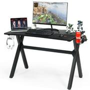 Costway Gaming Desk Computer Desk Table w/Cup Holder & Headphone Hook Gamer Workstation