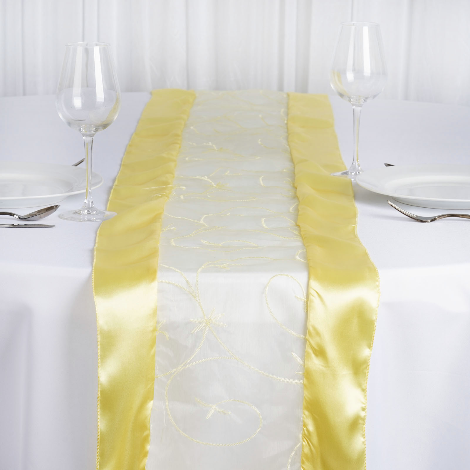 "BalsaCircle 14"" x 108"" Satin Edges and Embroidered Organza Table Top Runner - Wedding Party Reception Linens Decorations"