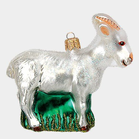 White Goat Polish Mouth Blown Glass Christmas Ornament Animal (Goat Ornaments)