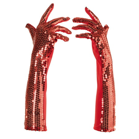 Red Sequined Long Fancy Adult Womens Flapper Costume Gloves - Sequin Gloves