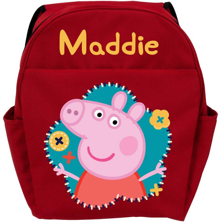 Personalized Peppa Pig Flower Fun Red Backpack