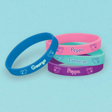 Peppa Pig Rubber Bracelet (4 Pack) - Party Supplies