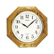 "Octagonal Shape Wall Clock - Medium Brown Solid Oak 12"""