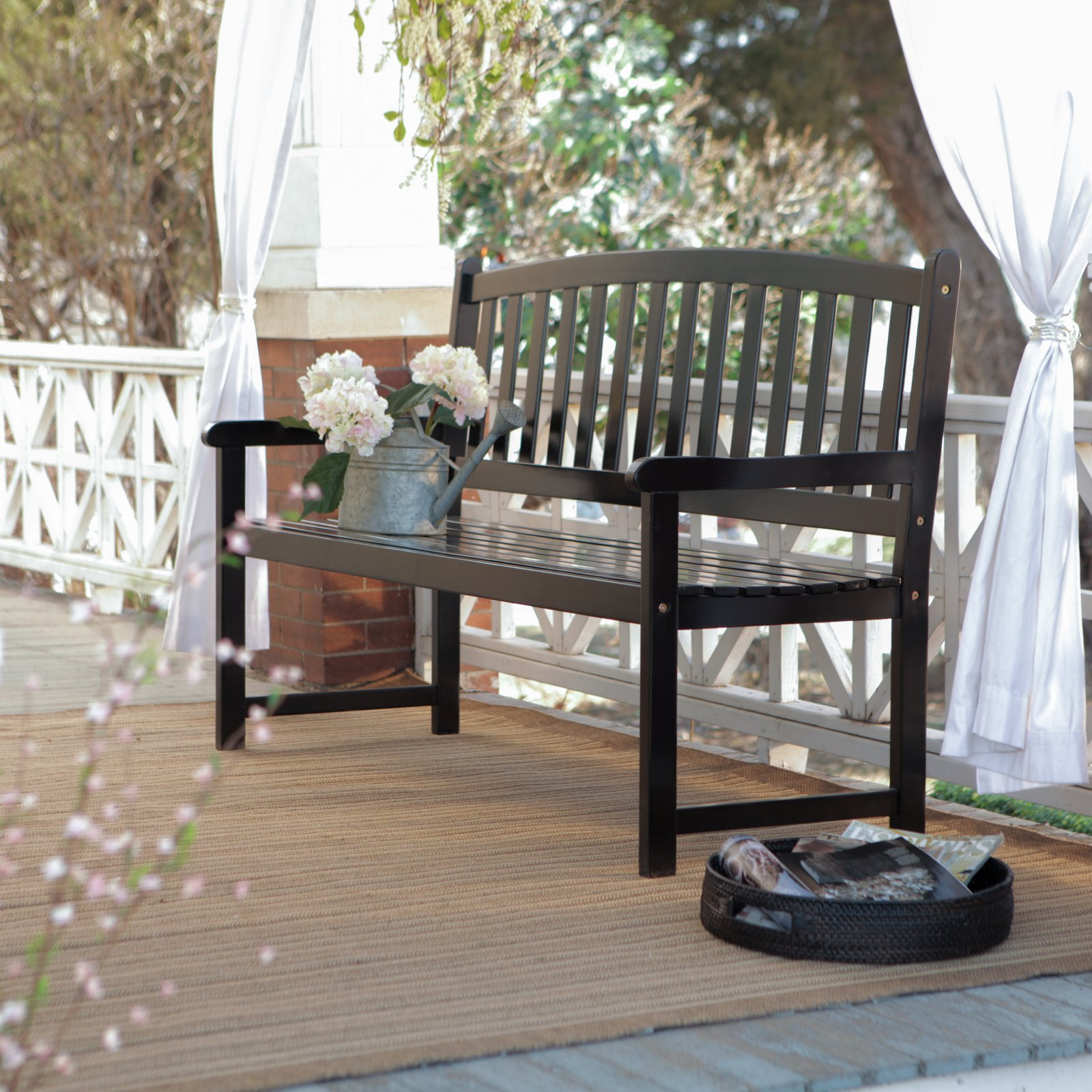 Coral Coast Pleasant Bay 5 ft. Slat Curved-Back Outdoor Wood Bench Black by Nghia Son Wooden Furniture Co