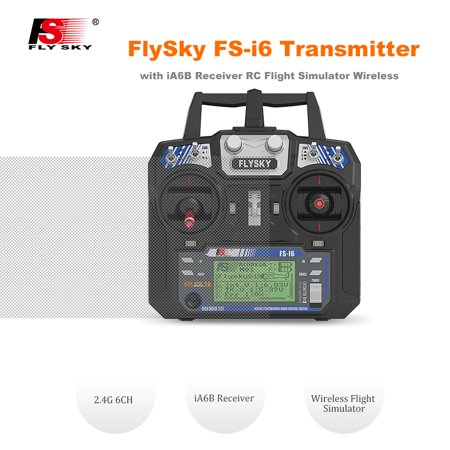 FlySky FS-i6 Remote Controller Transmitter 2.4G 6CH with iA6B Receiver RC Flight Simulator Wireless for Fixed-Wing Glider Helicopter Mode