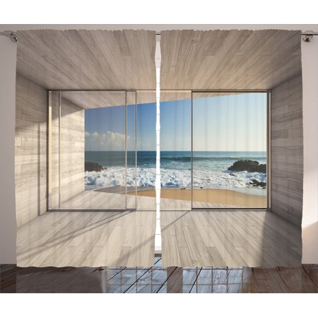 House Decor Curtains 2 Panels Set, Empty Modern Lounge Area With Large Window And View Of Sea Waves Rocks, Living Room Bedroom Accessories, By (New Wave 108 Pomegranate)