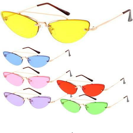 MLC Eyewear Small Tiny Wired Cat Eye Horn Tip Sleek Fashion Sunglasses