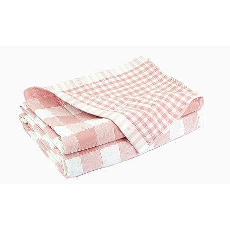 100% Cotton , Three layers woven,breathable and absorbs moisture Quilted Throw Blanket Pink / White Square Design)