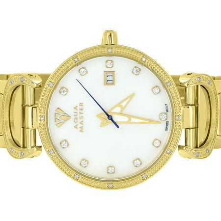 Aqua Master Gold Watch Mother Of Pearl Dial Watch Stainless Steel 0.3CT Genuine Diamond Classy Brand New