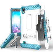 LG X-POWER CASE, TRI-SHIELD CASE with MAGNETIC KICKSTAND + BELT CLIP HOLSTER + LANYARD + WALLET CARD SLOT + TEMPERED GLASS SCREEN PROTECTOR FOR LG X-POWER, K6P, K220DS, K220, K210, F750