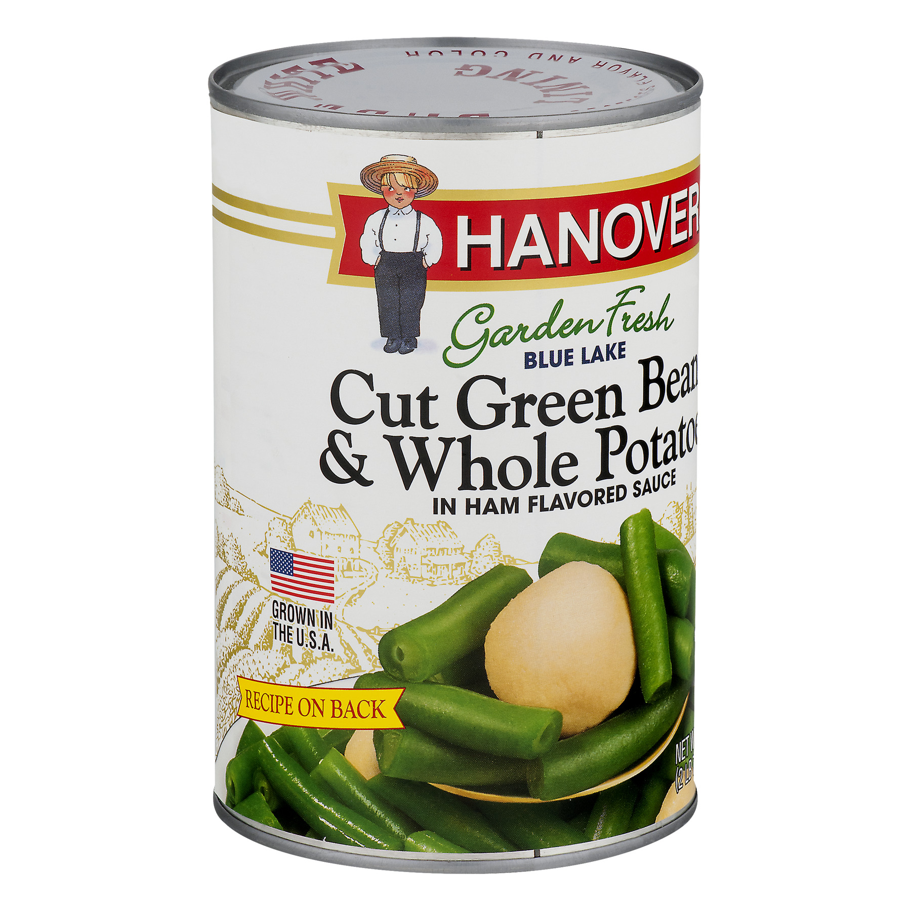 Hanover Garden Fresh Blue Lake Cut Green Beans & Whole Potatoes In Ham Flavored Sauce, 39 Oz