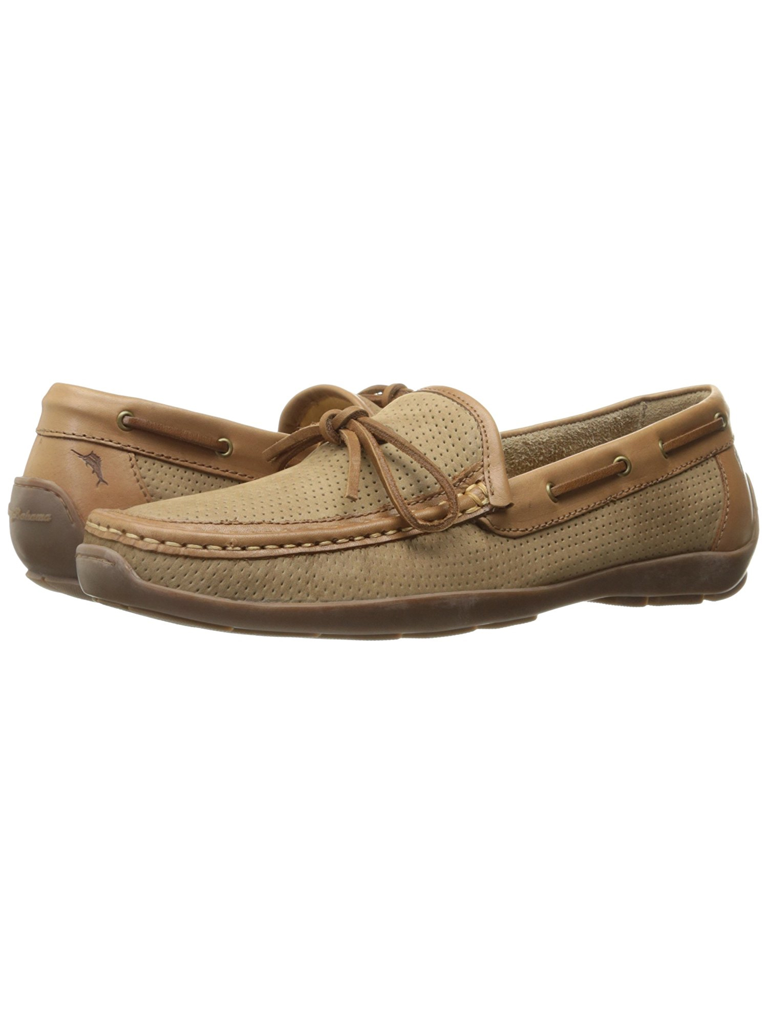 Tommy Bahama Mens Oden Perforated Boat Shoe (Sand, 14) by