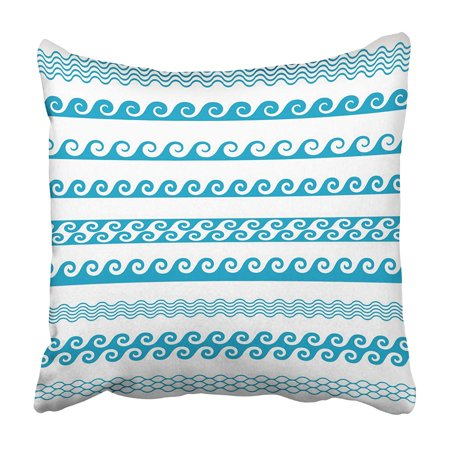 ARHOME Blue Greek Wave Line Pattern Borders Water Marine Nautical Sea Abstract Clipart Curl Pillowcase 20x20 inch