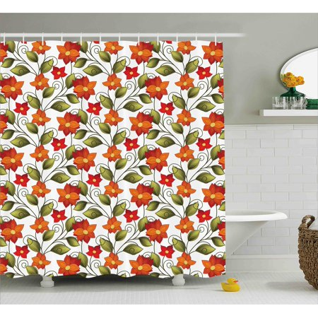 Floral shower curtain victorian fleur de lis lily blooms for Nature inspired shower curtains