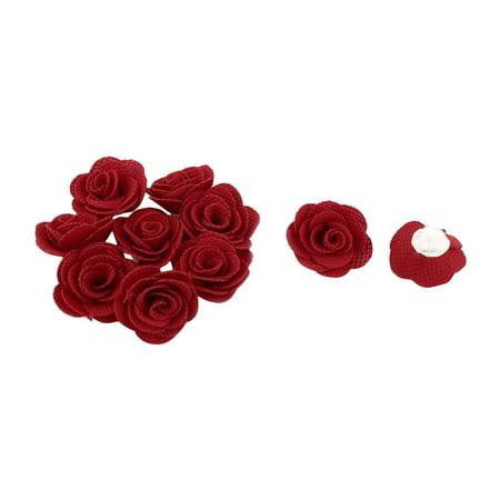 Fabric Camellia Flower Appliques Craft Wedding Ornament Ribbon Flowers Red 10pcs - image 1 de 1