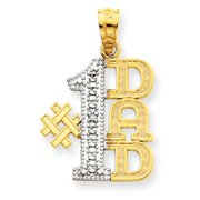 14k Yellow Gold and Rhodium with Diamond Accent Number 1 Dad Pendant - Measures 22.8x15mm