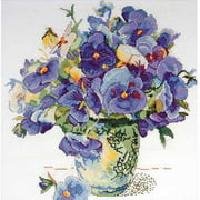 Design Works Counted Cross-Stitch Kit, Pansy Floral
