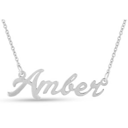 Amber Nameplate Necklace In Silver