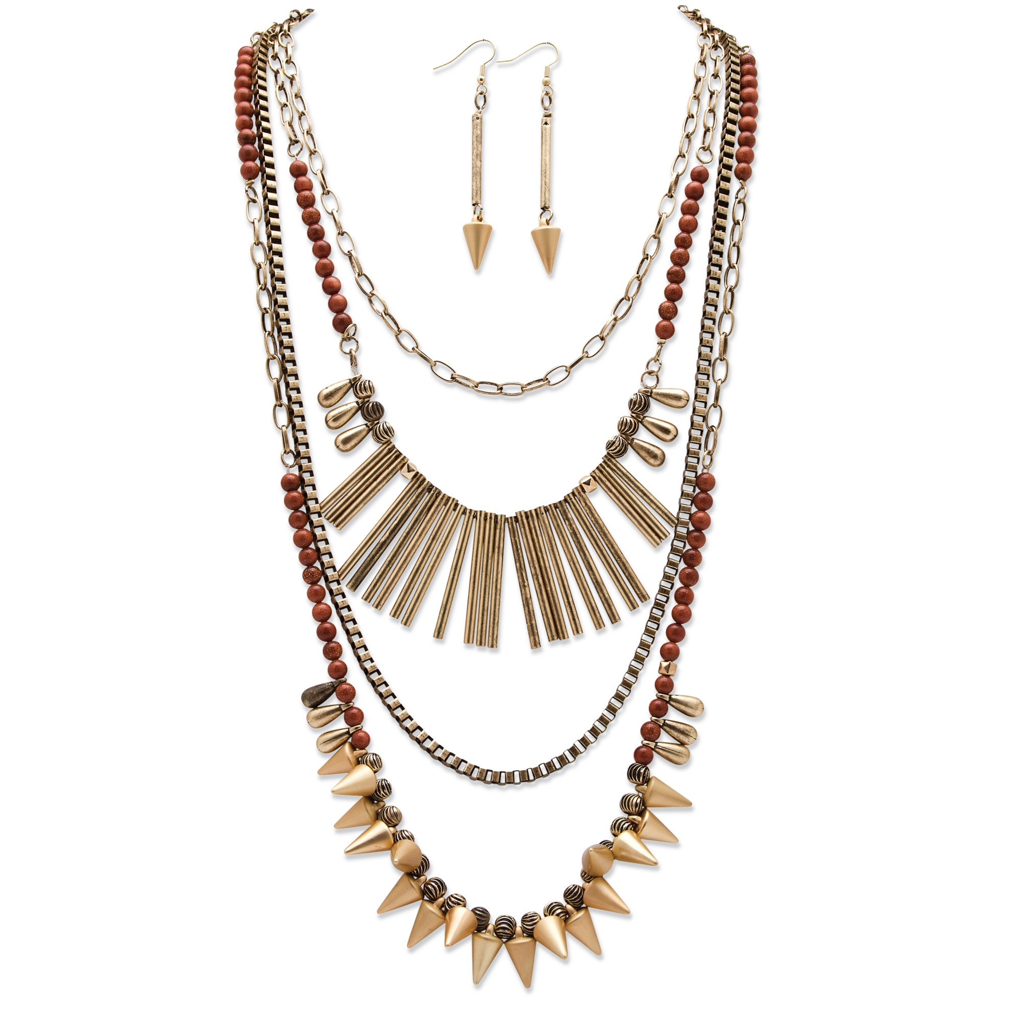 "Round Lucite and Multi-Charm Vintage-Inspired 2-Piece Necklace and Earrings Set in Antique Gold Tone Adjustable 20""-22.5"""