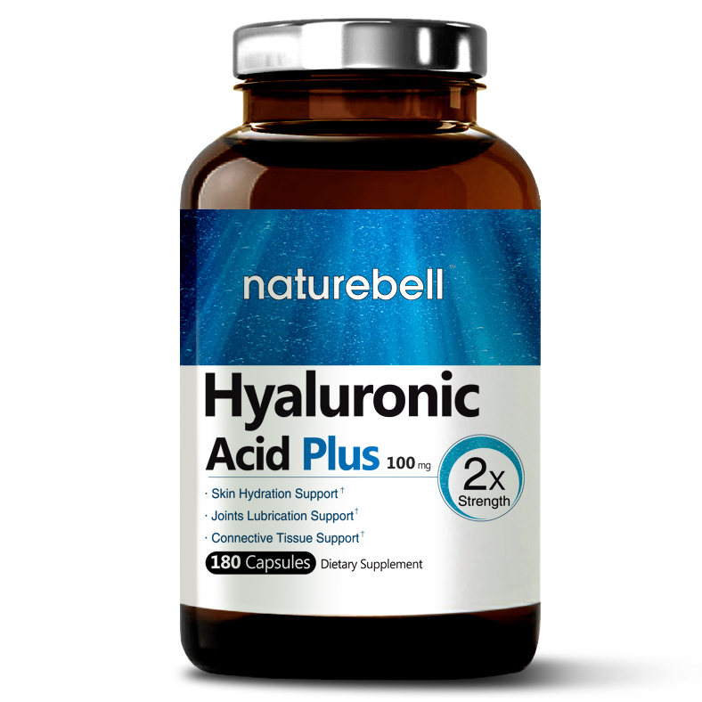 NatureBell Hyaluronic Acid Plus, 100mg, 180 Capsules, Made in USA, Support Skin Hydration & Joints Lubrication