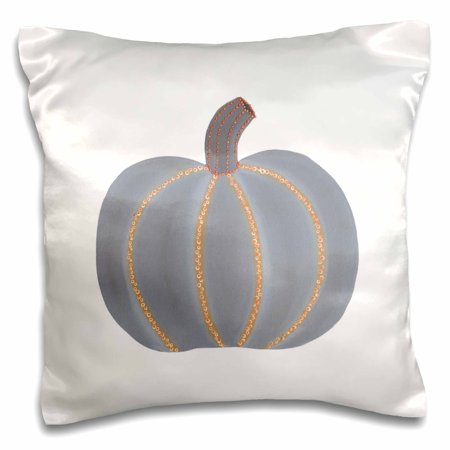 3dRose Painting of a Gray Pumpkin Trimmed in Orange Lights for Halloween - Pillow Case, 16 by 16-inch