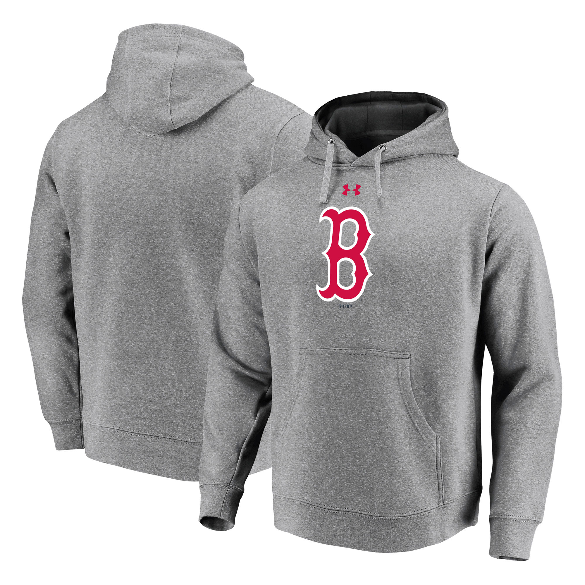 Boston Red Sox Under Armour Commitment Team Mark Performance Pullover Hoodie - Heathered Gray