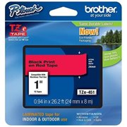 Brother Printer TZE451 Retail Packaging Black On Red, 1 in.