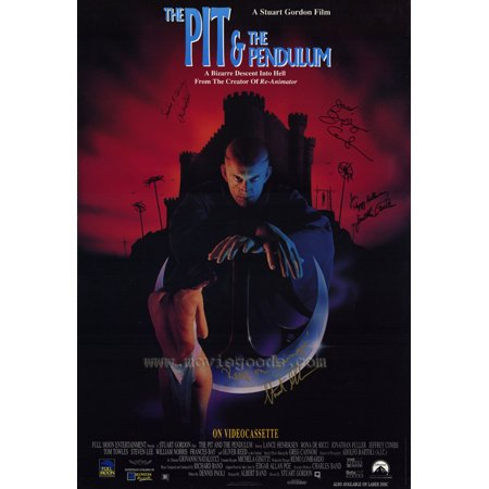 The Pit & the Pendulum Poster Movie with Autograph 27 x 40 In - 69cm x 102cm Lance Henriksen Rona De Ricci Jonathan Fuller Jeffrey Combs Tom Towles Stephen Lee