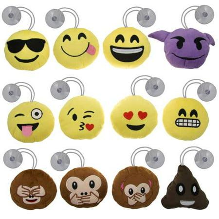 12pk Mini Emoji Hanging Plush Pillow Set Emoticons Cushion Toys Pack Smiley PoopKey chains Suction - Toy Poop