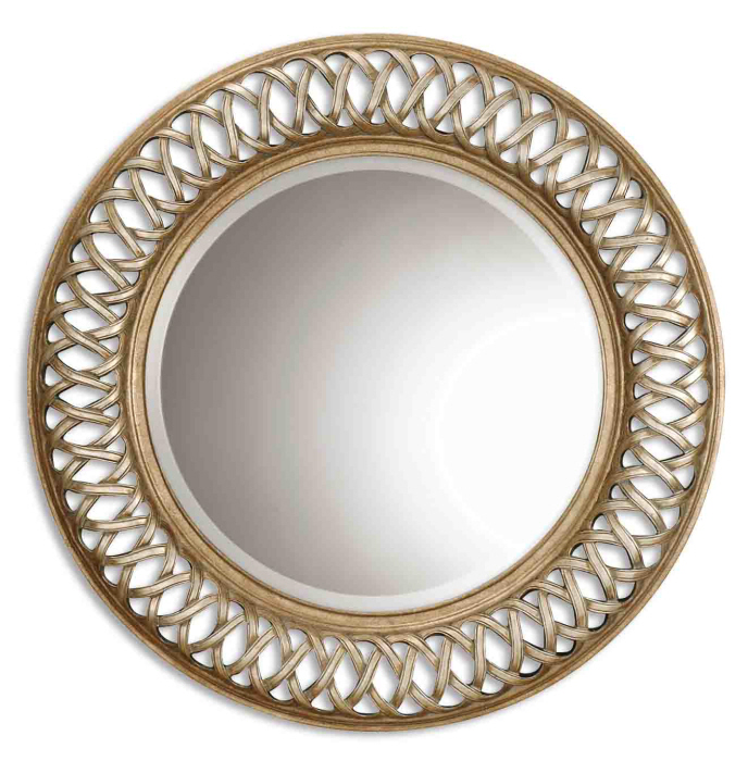 "45"" Luxurious Antiqued Silver & Gold Leaf Framed Beveled Round Wall Mirror"