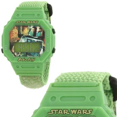 Star Wars Kids' Boba Fett Digital Wrap Strap (2005 Burger King Star Wars Watches Value)