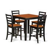 East West Furniture PBFA5-BLK-W Counter Height Pub Table & 4 Kitchen Dining Chairs, Black Finish