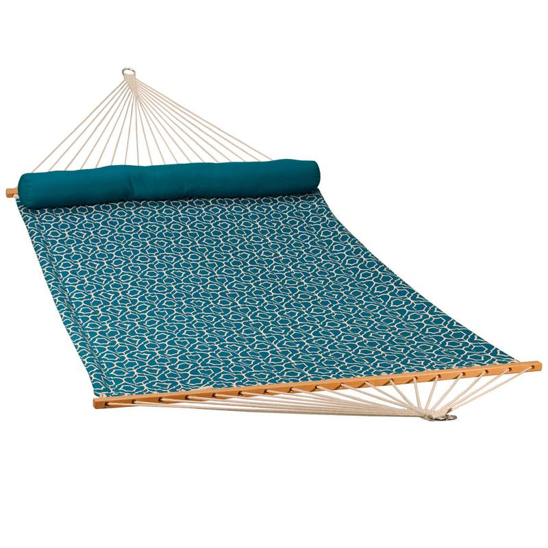 """82"""" x 55"""" Blue Lowry Lattice Patterned Reversible Quilted Hammock with Pillow"""