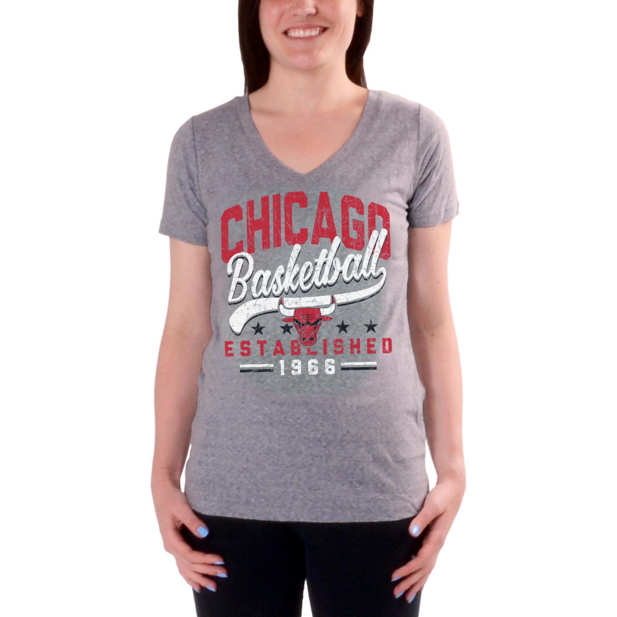 Women's Charcoal Chicago Bulls Cracked Type Version 2 V-Neck T-Shirt