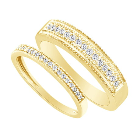 Round Cut White Natural Diamond His and Hers Wedding Band Ring Set in 14K Yellow Gold (0.38 Cttw) By Jewel Zone US