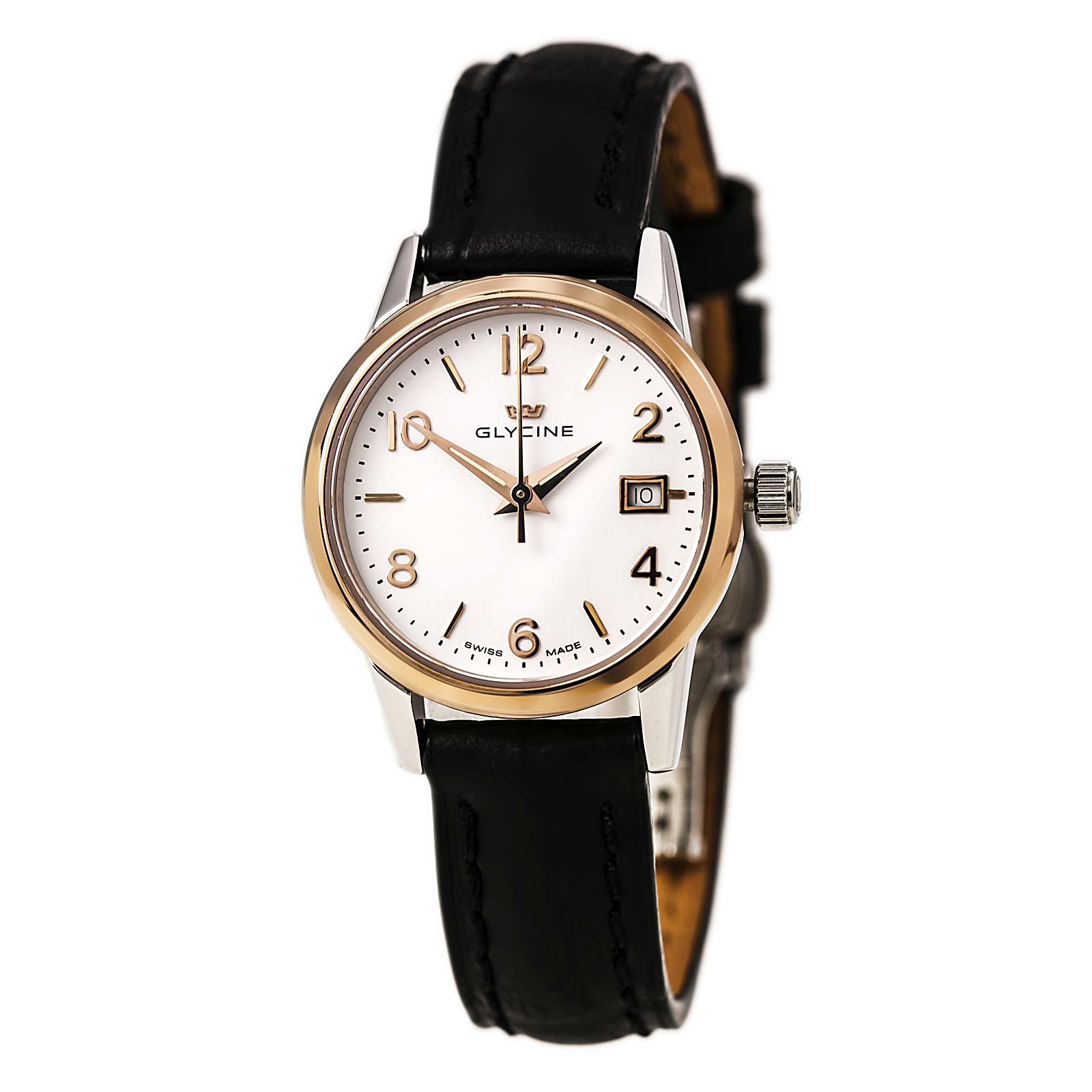 Glycine 3909-31 Women's Classic White Dial Black Leather Strap Date Watch