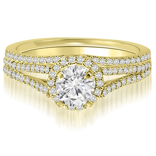 1.50 CT.TW Halo Split-Shank Round Cut Diamond Bridal Set in 14K White, Yellow Or Rose Gold