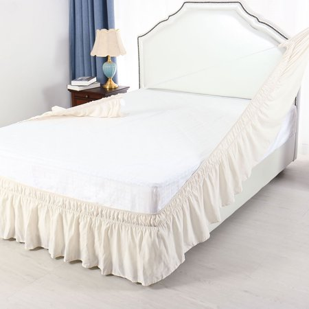 Pleated Bed Skirt Polyester Wrap Around Dust Ruffle Beige King 15 Inch Drop - image 4 de 8