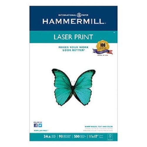 Hammermill  Laser Print Office Paper, 98 Brightness, 24 lb, 11 x 17, 500 Sheets/Ream
