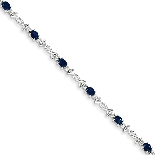 14K White Gold w  Diamond and Sapphire Gemstone Bracelet. Gem Wt- 2.42ct by Jewelrypot